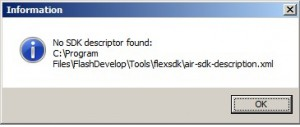 NO SDK Descriptor found --> air-sdk-description.xml